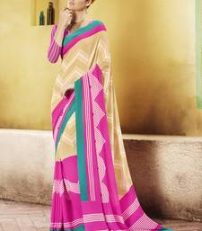 Buy Brown and  Pink Printed Georgette Saree with blouse georgette-saree online
