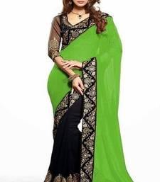 Buy Green  and  Black  Faux Georgette saree with blosue georgette-saree online