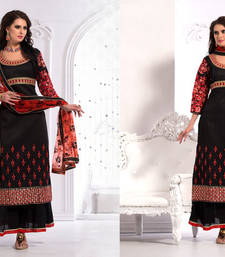 Buy Black Art Silk Semi-stitch dress party-wear-salwar-kameez online
