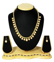 Buy White Moti & Crystal Designer Mala Necklace With Earring Set Partywear necklace-set online