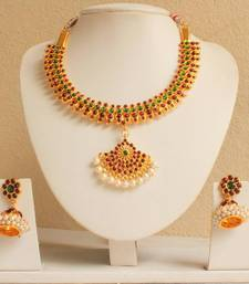 Buy GORGEOUS MAROON GREEN TEMPLE JEWEL SET necklace-set online