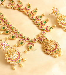 Buy Awesome semiprecious ruby-emerald lakshmi necklace set necklace-set online