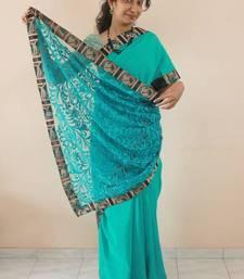 Buy Sea green Crepe silk and net designer Saree net-saree online
