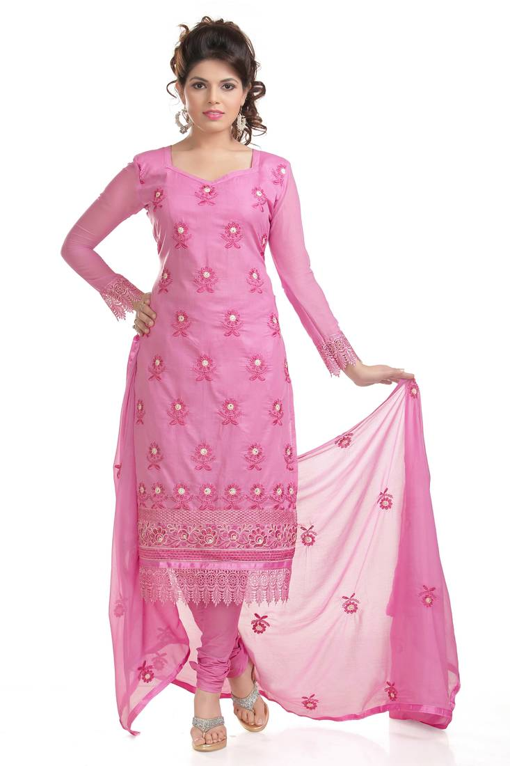 Buy pink cotton embroidered dress material online