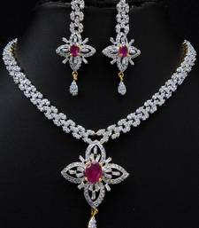 Buy Pink stone studded attractive CZ necklace set. Necklace online