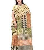 Buy Beige Printed Blended Cotton Saree With Blouse