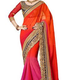 Buy Pink and  Orenge embroidered georgette saree with blouse other-actress-saree online
