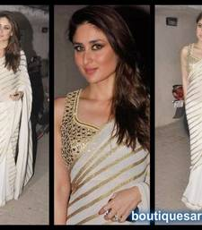 Buy off white embroidered georgette saree with blouse bollywood-saree online