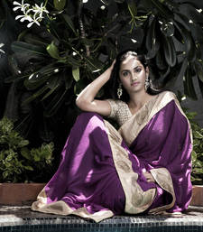 Buy The Orchid Beauty Crochet Party Wear Saree | Lavender georgette-saree online
