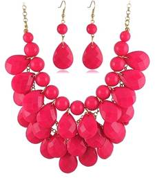 Buy Pink Tear Drop Necklace Set necklace-set online