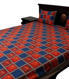 Buy dark blue and red printed cotton bed-sheets bed-sheet online