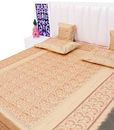 Buy cream embroidered silk bed-sheets bed-sheet online