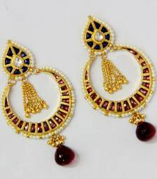 Buy BEAUTIFUL KUNDAN STONE STUDDED CHAND BALI Other online