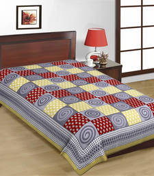 Buy Grey and Red Color Check Design Sanganeri Print Pure Cotton Single Bedsheet bed-sheet online