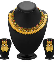Buy Enchanting Gold Plated Temple Jewellery Coin Necklace Set for Women necklace-set online