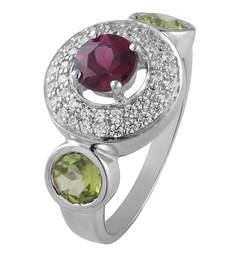 Buy Sterling Silver sudded with rhodolite,  peridot and cz ring wedding-ring online