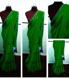 Buy Green and BLue Saree georgette-saree online