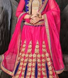 Buy Pink embroidered net lehenga choli lehenga-choli online