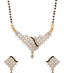 Buy Mangalsutra Set With V Shaped Pendant Adorned With CZ And Black Enamel Streak mangalsutra online