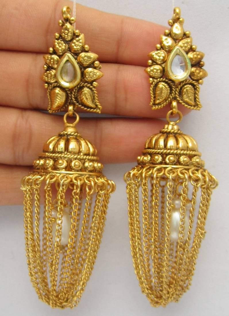 Buy Gold Chain Jhumka Pearl Earrings Dangler Online