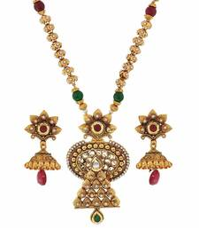 Buy Pearl Jadau Maroon Green Kundan Wedding Necklace Set with Earrings necklace-set online