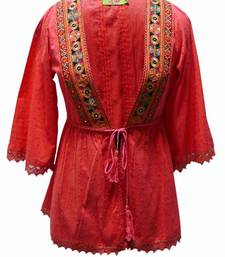 Buy Traditional kutch embroidery open top in Red top online