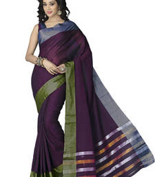 Buy Purple and Green plain cotton saree with blouse cotton-saree online