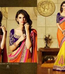 Buy orange and yellow plain georgette saree with blouse wedding-saree online