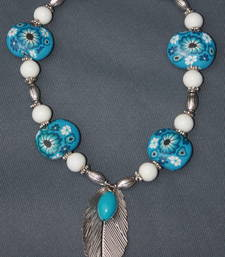Floral Turquoise, White and Silver Leaf. shop online