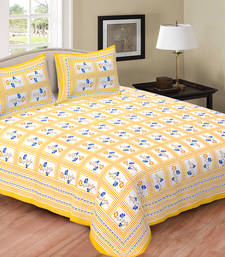 Buy Yellow Cotton printed Bed-Sheets bed-sheet online