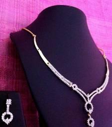 Buy Sparkling fusion design cubic zircon(cz) indian ethnic necklace set 5002 Necklace online
