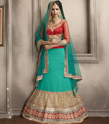 Buy Fabulous Teal Blue Embroidered Lehenga Choli lehenga-choli online