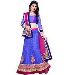 Buy Blue Embroidered Net Lehenga Choli With  Blouse lehenga-choli online