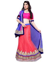 Buy Red Embroidered Net Lehenga Choli With  Blouse lehenga-choli online