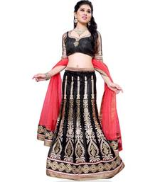 Buy Black Embroidered Net Lehenga Choli With  Blouse ethnic-lehenga online