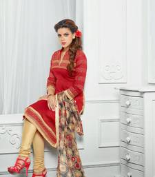 Buy Red embroidered chanderi unstitched salwar with dupatta salwars-and-churidar online
