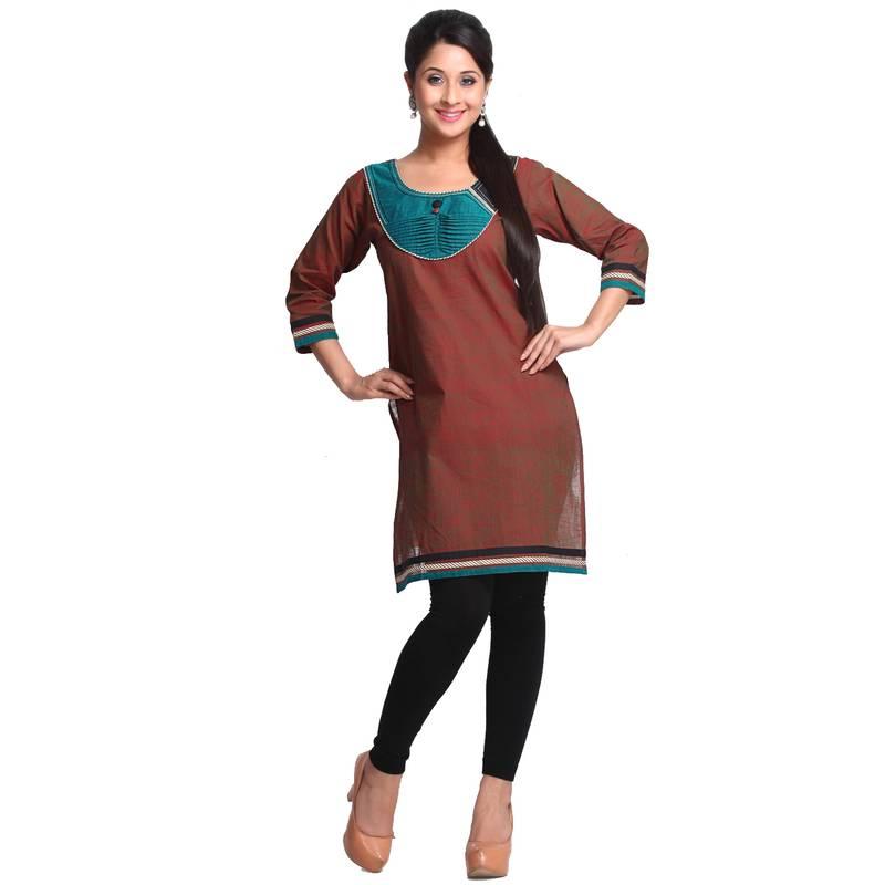 Buy Burnt Umber and Teal Blue Patchwork Handloom Cotton kurti Online