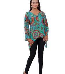 Buy Cotton Printed C.Green Color  Top party-top online