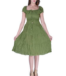 Buy Cotton Plain M.Green Tyre Color Dress other-apparel online