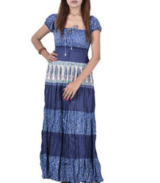 Buy Cotton Printed Blue Color Long Dress other-apparel online