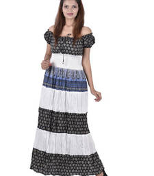 Buy Cotton Printed White Color Long Dress other-apparel online
