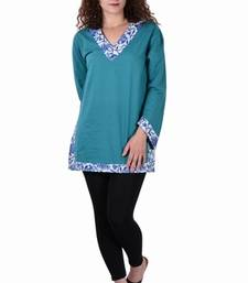 Buy Cotton Plain C.Green  Color Dress top online