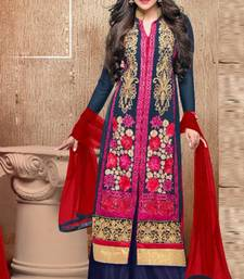 Buy Blue georgette embroidered semi_stitched salwar with dupatta eid-special-salwar-kameez online