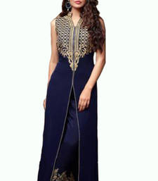 Buy Navy Blue embroidered georgette semi stitched salwar with dupatta party-wear-salwar-kameez online