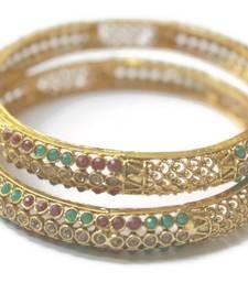 Buy Red Green Polki Bangle  (Set of 2)  Size 2.6 bangles-and-bracelet online