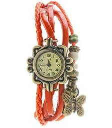 Buy orange Designeer Leather Watch Watch gifts-for-sister online
