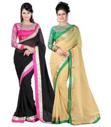 Buy Black and Beige embroidered chiffon saree with blouse sarees-combo-sari online