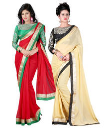 Buy Red and Beige embroidered chiffon saree with blouse sarees-combo-sari online