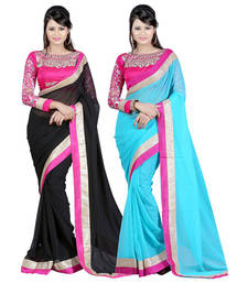 Buy Black and Tan embroidered chiffon saree with blouse sarees-combo-sari online