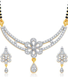 Buy Fashionable Gold and Rhodium Plated CZ Mangalsutra Set For Women mangalsutra online